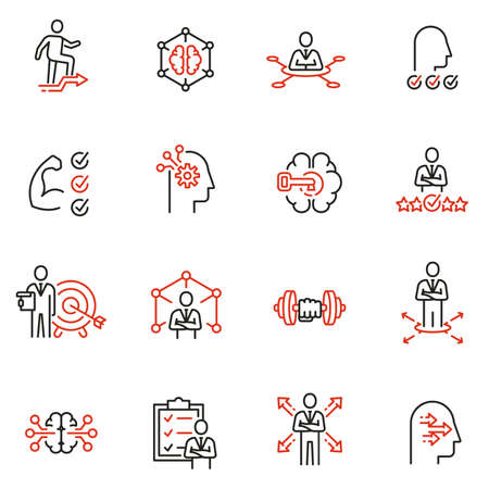 Vector set of linear icons related to leadership development, assertiveness, empowerment, skills. Mono line pictograms and infographics design elements - 3 Vettoriali