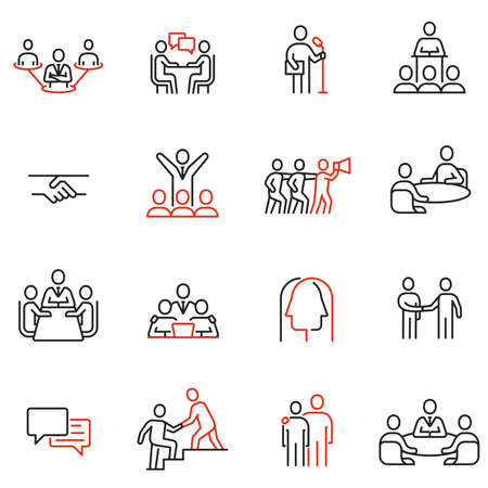 Vector set of linear icons related to engagement, discussion, persuasiveness. Mono line pictograms and infographics design elements Illustration