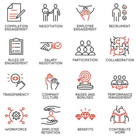 Vektorsatz linearer Symbole, die sich auf den Mitarbeiter des Engagements beziehen. Monoline-Piktogramme und Infografik-Designelemente Vektorgrafik