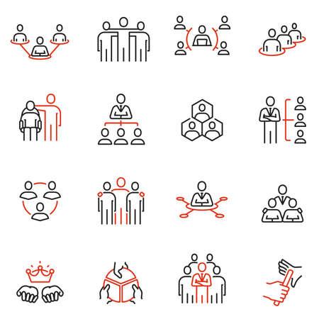 Insieme di vettore delle icone lineari relative alla struttura organizzativa aziendale, alla gestione delle risorse umane e alla successione. Pittogrammi monolinea ed elementi di design infografica Vettoriali