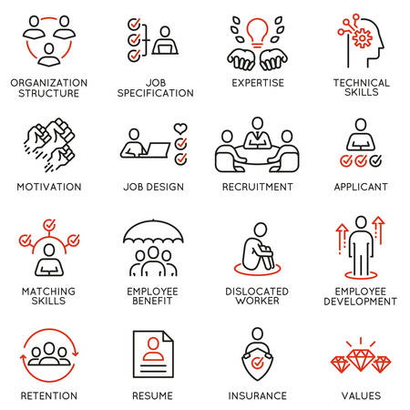 Vektorsatz linearer Symbole in Bezug auf Engagement-Mitarbeiter, Beschäftigungsfähigkeit, Personalmanagement. Monoline-Piktogramme und Infografik-Designelemente