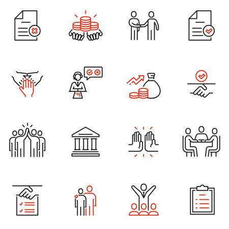 Vector set of linear icons related to bargaining, letter of credit and, acknowledgement and affirmation. Mono line pictograms and infographics design elements