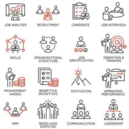Vector set of linear icons related to engagement employee, recruitment, organizational structure, human resource management. Mono line pictograms and infographics design elements Vettoriali