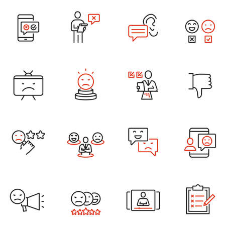 Vector set of linear icons related to negative reaction, opinion, review, antipathy and cancellation. Mono line pictograms and infographics design elements Иллюстрация