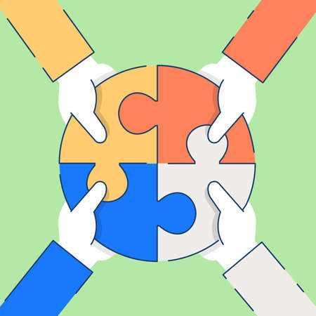 Vector flache lineare Illustration in Bezug auf Kommunikation, Beziehung von Interessengruppen, Partnerschaft und Teamarbeit - Teil 2 Vektorgrafik
