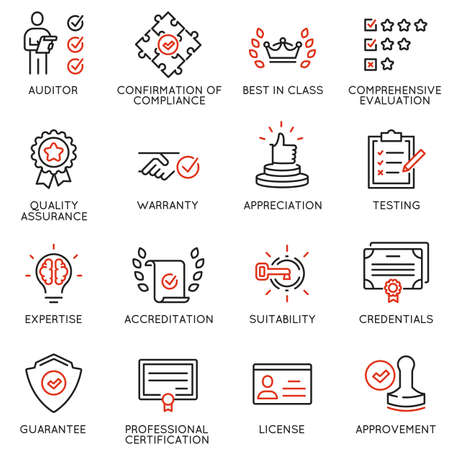 Vector set of linear icons related to approvement, accreditation, quality check and affirmation. Mono line pictograms and infographics design elements Vettoriali
