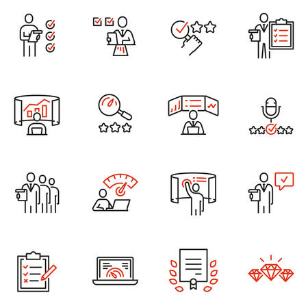 Vector set of linear icons related to analytics, data processing and conclusion. Auditor, analyst and expertise. Mono line pictograms and infographics design elements Ilustração