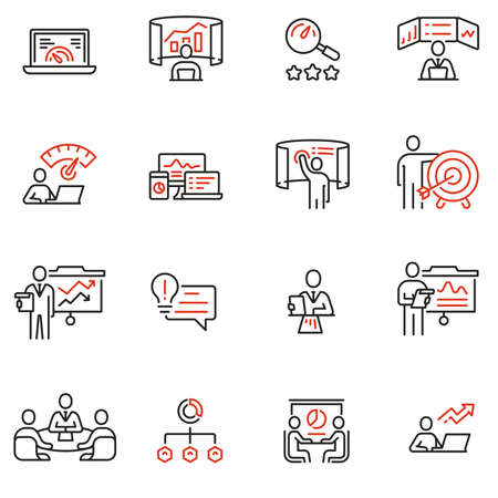 Vector Set of Linear Icons Related to Strategy Management System and Balanced Scorecard. Data Analysis and Development Statistics. Mono Line Pictograms and Infographics Design Elements Ilustração