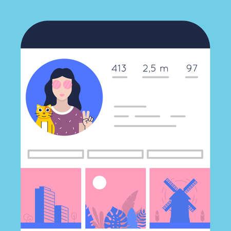 Vector flat illustration of social media, user profile