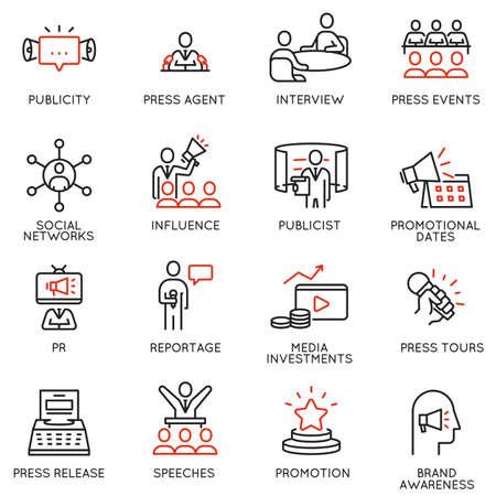 Ensemble vectoriel d'icônes linéaires liées aux relations publiques, à la critique, au journalisme, aux actualités en ligne. Éléments de conception de pictogrammes de ligne mono et d'infographies