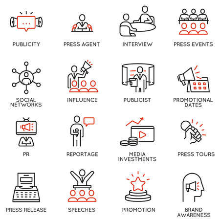 Vector set of linear icons related to public relations, review, journalism, online news. Mono line pictograms and infographics design elements