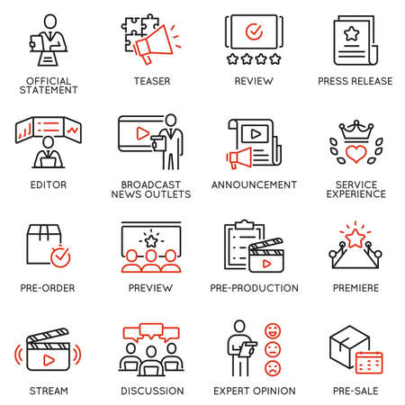 Vector set of linear icons related to announcement, pre-order, preview and discussion. Mono line pictograms and infographics design elements Ilustração
