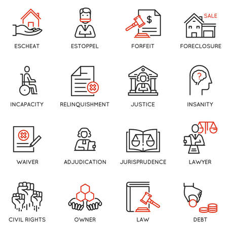 Vector set of linear icons related to law, justice and litigation. Mono line pictograms and infographics design elements - part 3 Иллюстрация