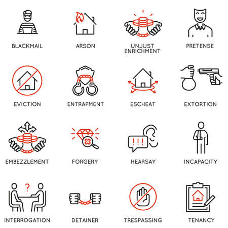 Vector set of linear icons related to law, justice and litigation. Mono line pictograms and infographics design elements - part 5