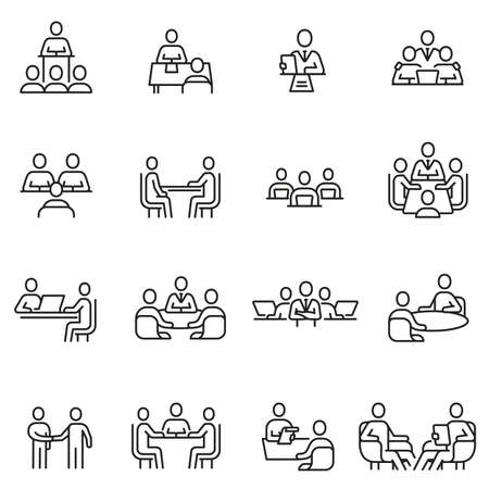 Vector set of linear icons related to team, discussion, meeting and interview. Mono line pictograms and infographics design elements