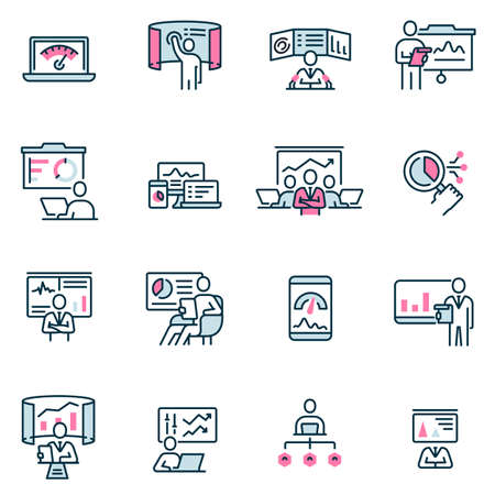 Vector set of linear flat icons related to gathering, analytics information, development statistic, expertise and consulting. Mono line pictograms and infographics design elements