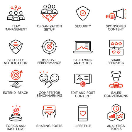 Vector set of linear icons related to influence marketing and social media promotion services. Mono line pictograms and infographics design elements - part 7