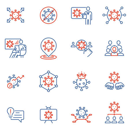 Vector Set of Linear Icons Related to Clinical Trial of Coronavirus, Community Spread and Protection Measures. Covid - 19. Mono Line Pictograms and Infographics Design Elements - part 2