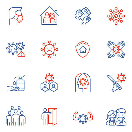Vector Set of Linear Icons Related to Clinical Trial of Coronavirus, Community Spread and Protection Measures. Covid - 19. Mono Line Pictograms and Infographics Design Elements - part 3 Ilustração