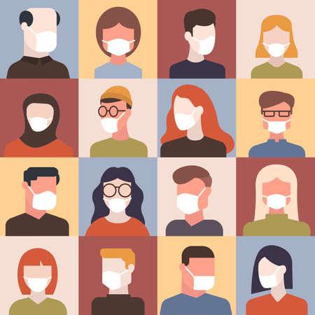 Coronavirus (2019-nCoV), Different People in White Medical Face Mask. Concept of Worldwide Quarantine and Self-isolation. Vector Flat Illustration Ilustração