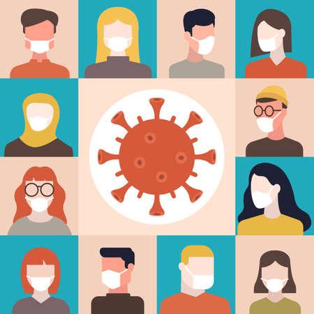 Coronavirus (2019-nCoV), Covid-19, différentes personnes portant un masque médical blanc. Concept de quarantaine mondiale et d'auto-isolement. Illustration plate vectorielle