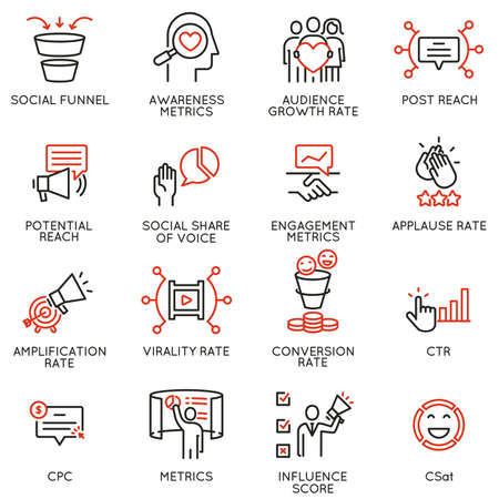 Vector set of linear icons related to influence marketing and social media promotion services. Mono line pictograms and infographics design elements - part 8
