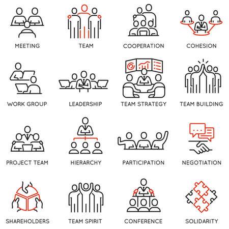 Ensemble d'icônes linéaires liées aux processus métier, au travail d'équipe et à la gestion des ressources humaines. Vecteurs