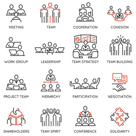Set of linear icons related to business process, team work and human resource management. Ilustração