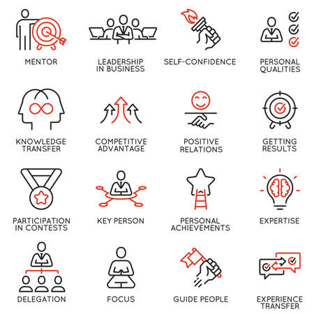 Vector set of linear icons related to skills, empowerment leadership development and qualities of a leader. Mono line pictograms and infographics design elements - part 8