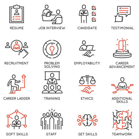 Vector Set of Linear Icons Related to Leadership Skills for Workplace Success. Mono line pictograms and infographics design elements
