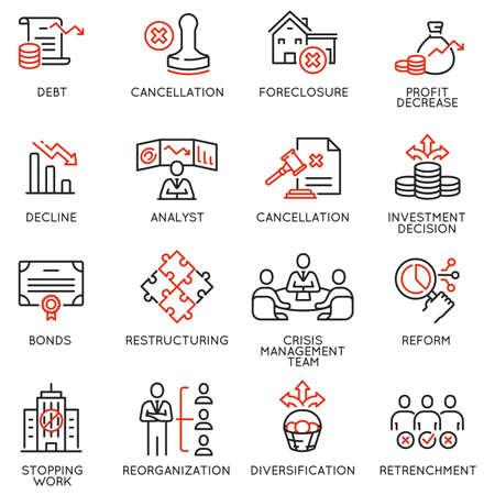 Vector Set of Linear Icons Related to Profit Decline Ilustração