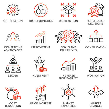 Set of Linear Icons Related to Crisis Management and Consolidation.