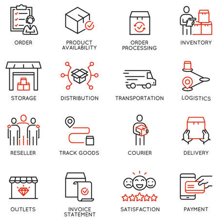 Set of Linear Icons Related to Tracking Order, Shipping and Express Delivery Process.