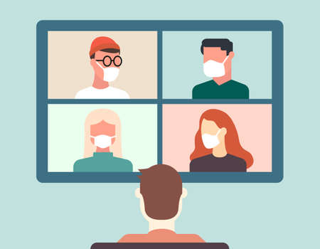 Back view of man talking to colleagues or friends about plans in video conference. Ilustração