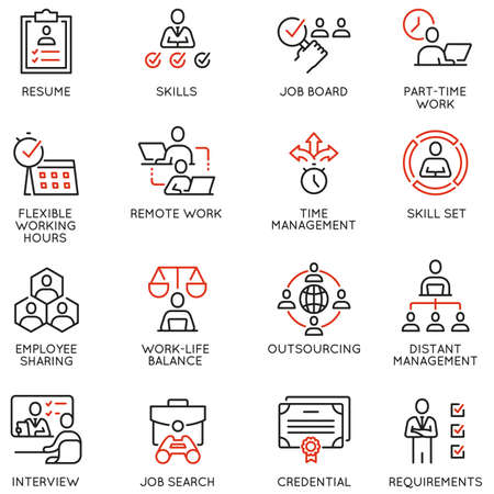 Set of Linear Icons Related to Remote Work from Home, Freelance Worker with Laptop, Workspace, Online Job.