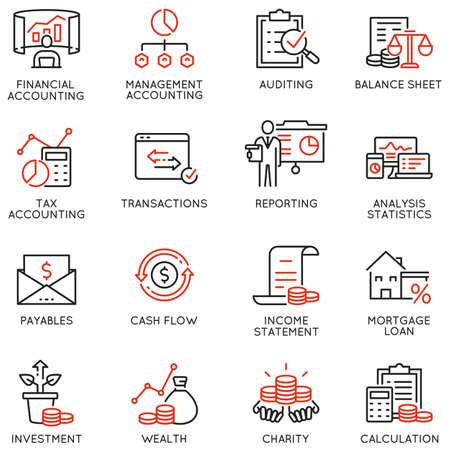 Vector Set of Linear Icons Related to Finance Report, Accounting, Portfolio and Calculation. Vettoriali
