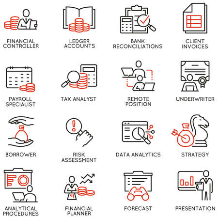 Vector Set of Linear Icons Related to Finance Report, Current Accounting and Finance Jobs.