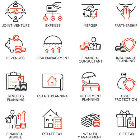 Vector Set of Linear Icons Related to Finance Report, Accounting, Calculation, Consultation and Audit. Mono Line Pictograms and Infographics Design Elements