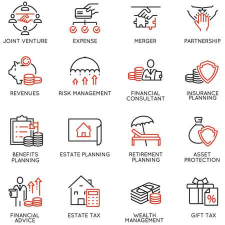 Vektorsatz linearer Symbole im Zusammenhang mit Finanzbericht, Buchhaltung, Berechnung, Beratung und Prüfung. Monoline-Piktogramme und Infografik-Designelemente