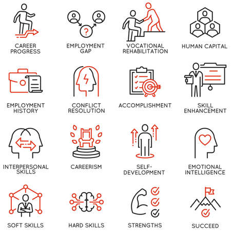 Wektor zestaw ikon liniowych związanych z pracą zdalną, znalezieniem pracy, zatrudnieniem, freelancerem i HR. Piktogramy mono-line i elementy projektu infografiki - część 2