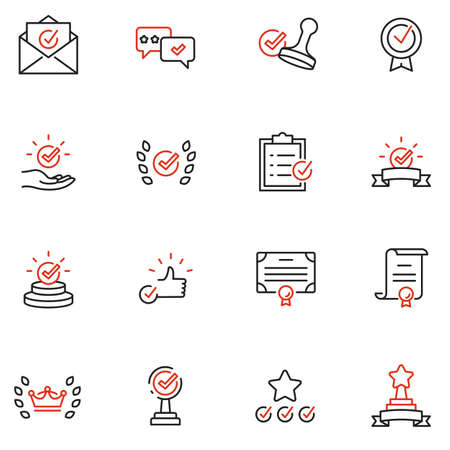 Vector Set of Linear Icons Related to Approvement, Accreditation, Quality Check and Affirmation. Mono Line Pictograms and Infographics Design Elements - part 2