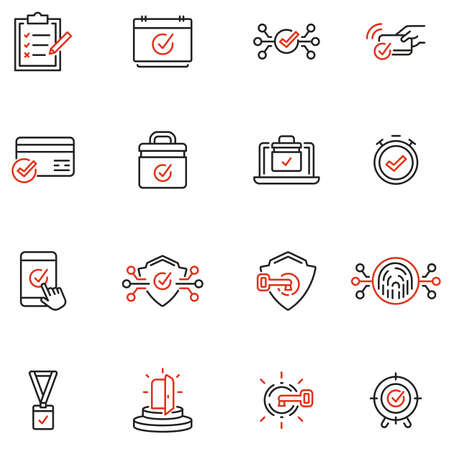 Vector Set of Linear Icons Related to Verification, Protection, Authentication, identification and Security system. Mono Line Pictograms and Infographics Design Elements