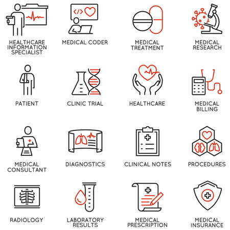 Vector Set of Linear Icons Related to Health Information Management and Clinical Coder. Mono Line Pictograms and Infographics Design Elements