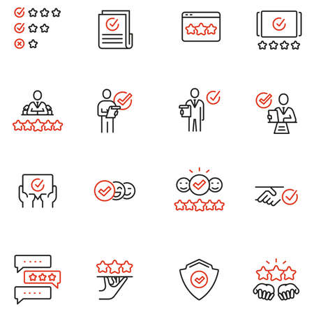 Vector Set of Linear Icons Related to Approvement, Auditing, Expertise and Customer Review. Mono Line Pictograms and Infographics Design Elements Stock Illustratie