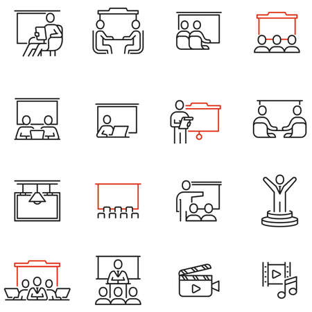 Vector set of linear icons related to career training, seminar, conference and presentation. Mentor, Presenter and Teacher. Mono line pictograms and infographics design elements - part 2