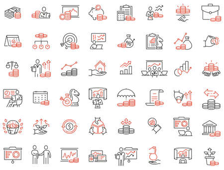Vector set of linear icons related to finance management, trade service and investment strategy. Mono line pictograms and infographics design elements