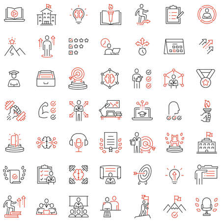 Vector set of linear icons related to skills, empowerment leadership development and qualities of a leader. Mono line pictograms and infographics design elements Vectores