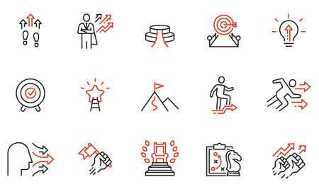 Vector set of linear icons related to assertiveness, striving for development, realization and progress. Mono line pictograms and infographics design elements