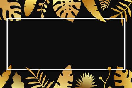 Invitation with gold tropical leaves, cover design on dark background. Luxury botanical design for ceremony - vector illustration Ilustração