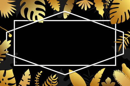 Invitation with gold tropical leaves, cover design on dark background with geometrical polyhedron. Luxury botanical design for ceremony - vector illustration